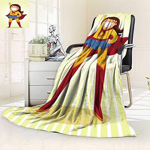 YOYI-HOME Soft Throw Duplex Printed Blanket Little Girl in a Superhero Costume Standing in a Heroic Position Anti-Static,2 Ply Thick,Hypoallergenic/59 W by 79