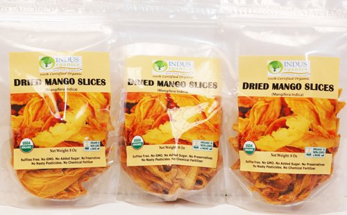 Indus Organics 100% Dried Mango Slices, Raw,24 Oz (3 Pack), Sulfite Free, No Added Sugar, Premium Grade, Freshly Packed