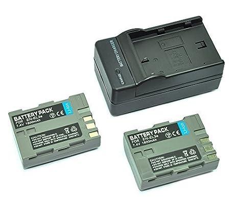 mondpalast@ 2X Reemplazo Li-ion batería EN-EL3e ENEL3e EN-EL3a ENEL3a 1500mAh + cargador para Nikon DSLR D50, D70, D70s, D80, D90, D100, D200, D300, ...