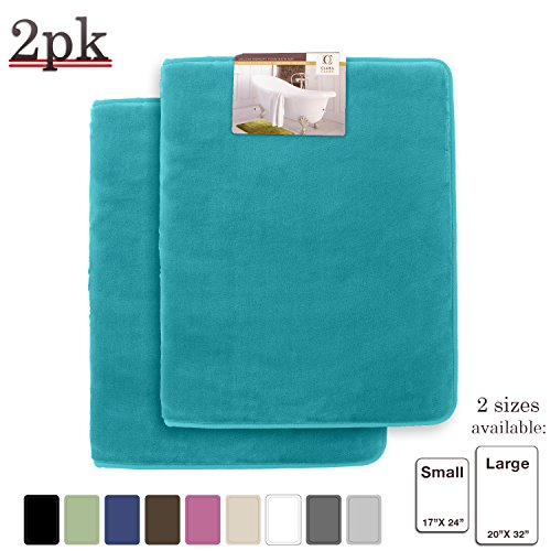 Memory Foam Bathrug 2 Pack Set – Teal Blue - Bath Mat and Shower Rug Large 20