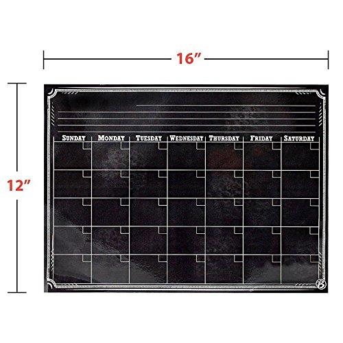 Magnetic Refrigerator Calendar Dry Erase Black Chalkboard Board Design | Monthly for Kitchen Fridge| Use w/ Wet Wipe Fluorescent or Neon Markers … Photo #7