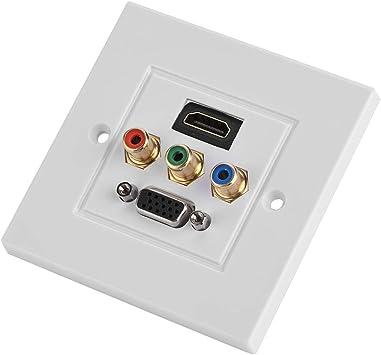HDMI USB VGA 3RCA Panel de Pared Multimedia Integrado Tres en uno Adaptador de Video y Audio Enchufe de cableado Enchufe de Salida Distribución y organización Placas de Pared Multimedia Panel: Amazon.es:
