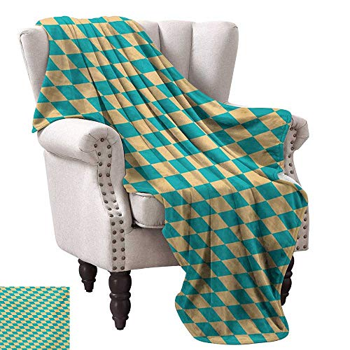 (Warm Microfiber All Season Blanket,Art Deco Style Chess Table Dart Like Horizontal Vintage Image 50