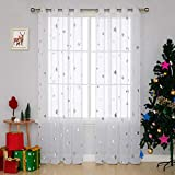 Deconovo Grommet White Sheer Curtains 84 Inch Long Foil Print Silver Star Voile Sheer Curtain Panels for Bedroom 52x84 Inch 2 Panels