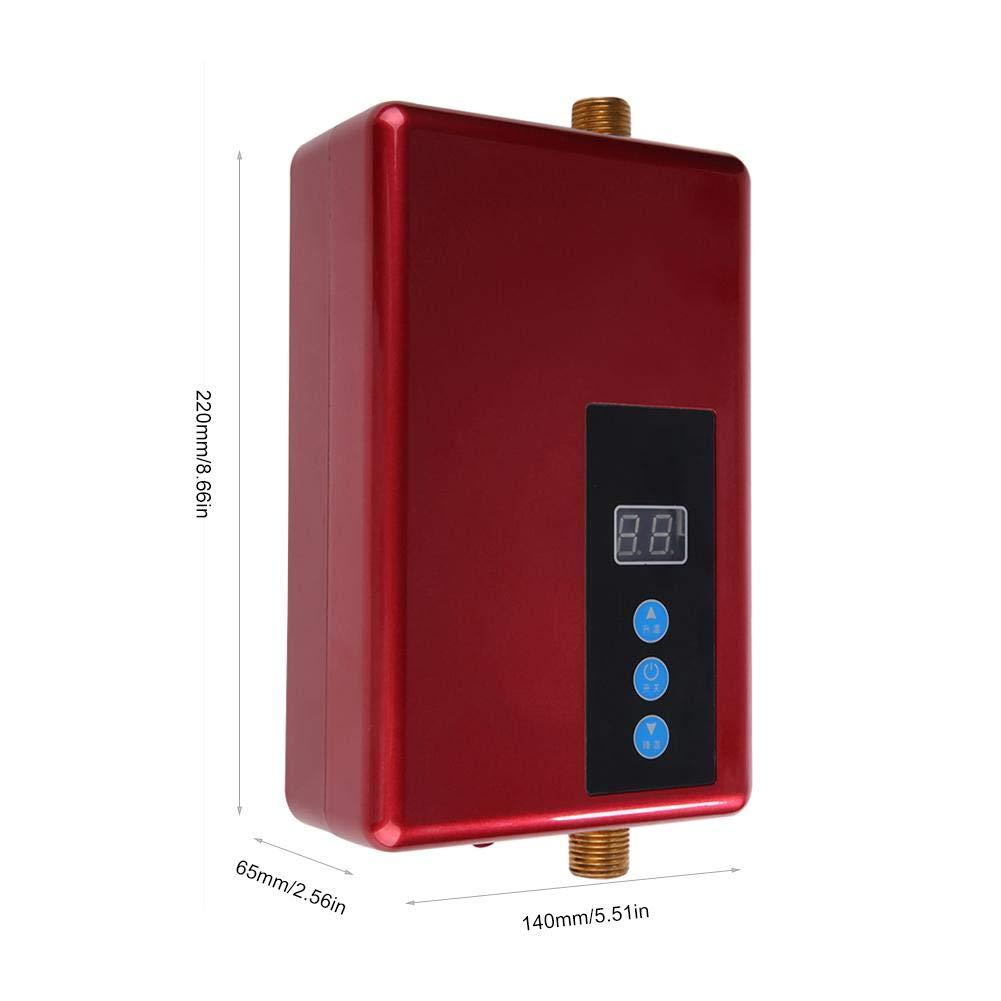 Rouge 220V 5.5KW Mini Chauffe-Eau /électrique instantan/é Douche sans r/éservoir Syst/ème deau Chaude Cuisine Conversione Istantanea Di Frequenza Termica Acouto Chauffe-Eau