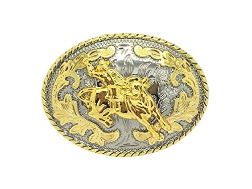 Unisex Adult Novelty Bullfighting Cowboy Oval Western Belt Buckle Golden