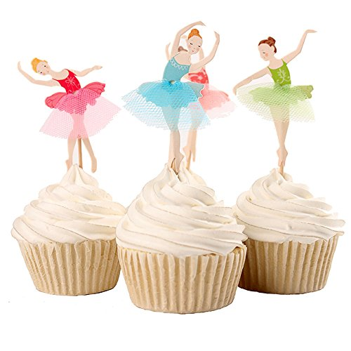 (BETOP HOUSE Set of 24 Pieces Cute Ballet Dancer Girls Fairy Peri Dessert Muffin Cupcake Toppers for Picnic Wedding Baby Shower Birthday Party Server (#1) )