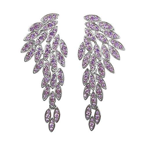Earrings Chandelier Purple (LARGE Angel Wings Eagle Wings Rhinestone Studded Statement Gold Black Dangling Earrings Wedding Bridal Crystal Chandelier Long Drop Earrings for Women (Purple Without Card/Envelope))
