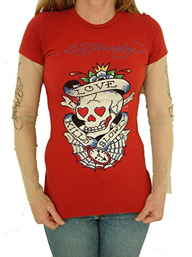 New Ed Hardy Red Mesh Long Sleeve T-Shirt Tunic With Multi Color Crystal - Love Kills Slowly Web #S822D6 (S) ()