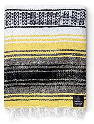 Mexican Blanket Yoga Blanket | Handwoven Authentic Made in Mexico Yoga Serape Blankets | Perfect Beach Blanket, Baja Blanket, Camping Blanket, Blanket and Throws, Yoga Bolster, Seat Cover