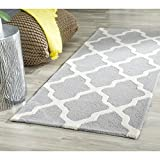 Safavieh Cambridge Collection CAM121D Handmade Moroccan Geometric Silver and Ivory Premium Wool Runner (2'6'' x 12')