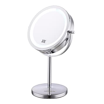Superieur Lighted Makeup Mirror   7u0026quot; LED Vanity Mirror 10x Magnification  Two Sided Cosmetic Table