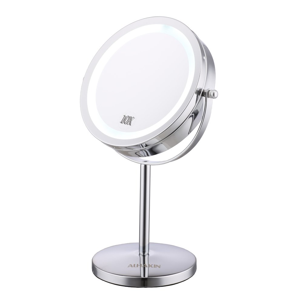 Lighted Makeup Mirror - 7'' LED Vanity Mirror 10x Magnification Two-Sided Cosmetic Table Mirror Polished Chrome ALHAKIN