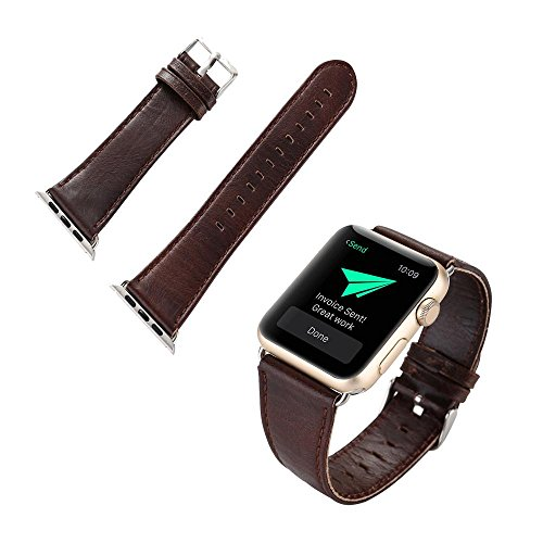 For Apple Watch Band,VoberryLeather Buckle Wrist Watch Band Strap Belt for Watch (Buckle Dark Chocolate)