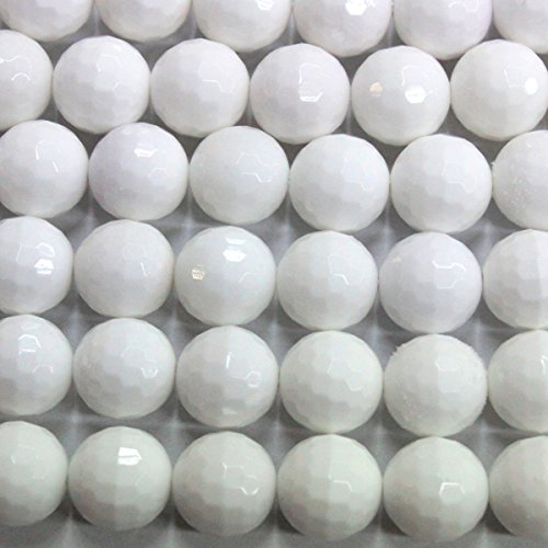 - Faceted Natural White Agate Round 10mm Loose Beads Jewelry Making Gemstone Beads