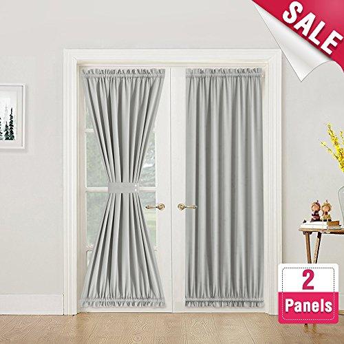 French Door Curtain Panels Room Darkening French Door Curtains Thermal Insulated Curtains for Glass Door 72 Inches Length with Bonus Tiebacks, 2 Panels, Grey by Vangao