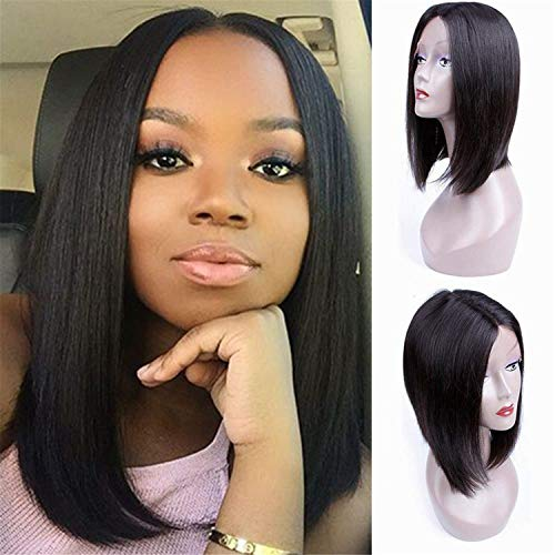 MQYQ 12'' Short Bob Wigs Brazilian Virgin Hair on Sale,130% Density Lace Front Wigs Human Hair for Black Women, Straight Natrual Black Color Wigs with Baby Hair (Best Brazilian Hair For Sale)