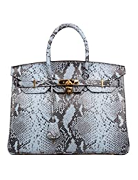 Ainifeel Women's Snakeskin Embossed Top Handle Handbags