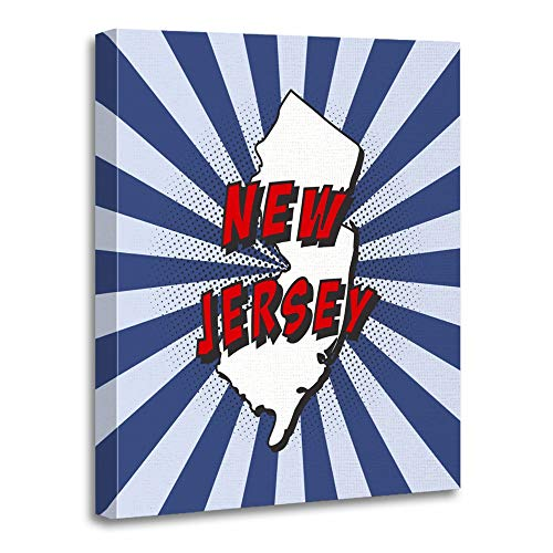 Emvency Painting Canvas Print Artwork Decorative Print Wooden Frame Blue Map of U State New Jersey in Pop with Text and Halftone Dots on Radial Red 16x20 Inches Wall Art for Home Decor - State Shadow Print Jersey