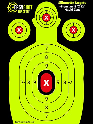 EasyShot-Silhouette-Shooting-Targets-Maximum-Visibility-18X12-Bright-and-Colorful-Fluorescent-Green-Easy-To-See-Shot-Placement-150-Free-Repair-Stickers-Quality-Targets-at-Discount-Prices