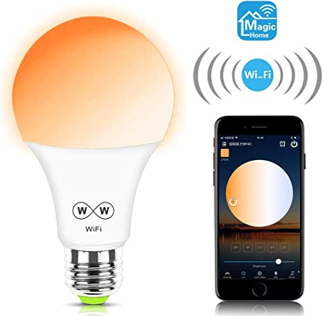 Alitove Smart Wifi Dimmable White Light Bulb Soft White Warm White Daylight Adjustable 2700k 6500k 6 5w 500lm E26 A19 Work With Alexa Echo Google