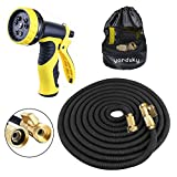 WIRABO Expandable Garden Hose 50ft/15m,Strongest Double Latex Inner Tube Prevent Leaking Magic Garden Hosepipe with 9 Function Spray Gun+Solid Brass Connector Fittings+Brass Valve+Storage bag