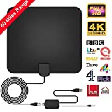 TV Antenna, [2019 Newest] Indoor Digital HDTV Amplified Antennas Freeview 4K 1080P HD VHF UHF for Local Channels 80 Miles Range with Amplifier Signal Amplifier Support All TV's-15.6ft Coax Cable