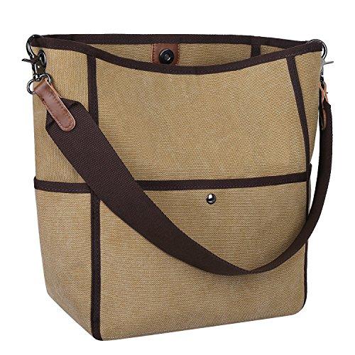 S-ZONE bolso del hombro de la lona del bolso de la lona de las mujeres ocasionales (gris) Marr¨®n