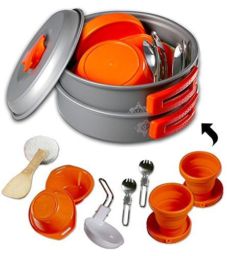 Gear4U-Best-BPA-FREE-Camping-Cookware-Set-Mess-Kit-13-Pieces-including-Free-Bonus-Non-Stick-Anodized-Aluminum-Complete-Lightweight-Folding-Kit-for-Camping-Hiking-Backpacking-Outdoor-Cooking