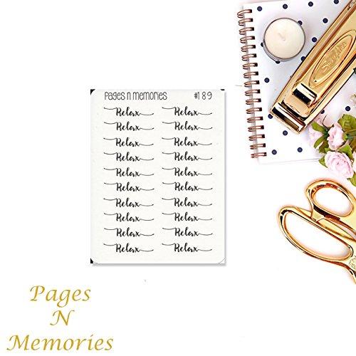Relax Script Planner Stickers// Erin Condren// Plum Paper// Happy Planner// Recollections// Functional Stickers #189