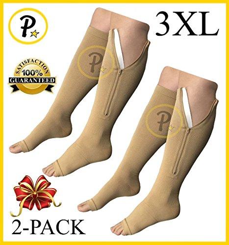 NEW (BIG & TALL 3XL) Open Toe Knee Length Zipper Up Compression Hosiery Calf Leg Support Stocking Stocks (2-Pack Beige)