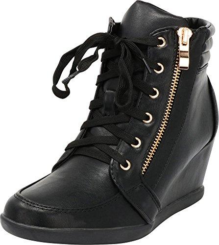 Cambridge Select Women's Lace-up Zipper Wedge Fashion Sneaker Black Pu