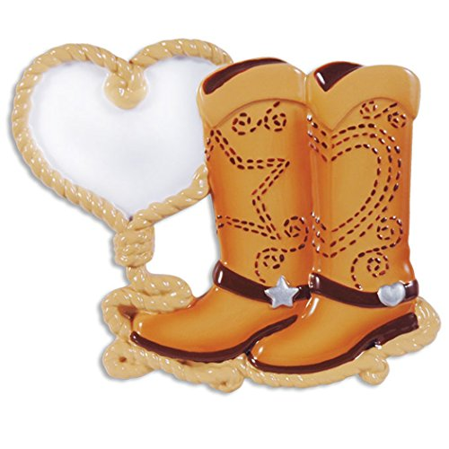 Personalized Cowboy Boot Couple Christmas Ornament - Riding Shoes with Heart Star and Western Romantic Rope Heart - 1st Anniversary Love First Wild Milestone Halloween Costume Hat - Free Customization