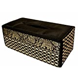 "TISSUE BOX""A"" cover case Sheath natural Reed wicker ECO sustainable material plush SILK Trim Elephant Side (Black)"