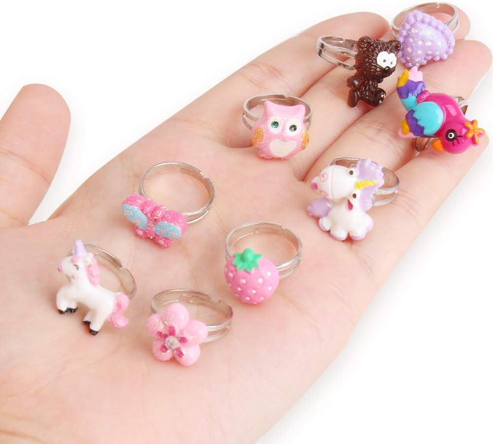 Anneaux r/églables de Defrsk 15PCS r/égl/és pour des ensembles de bagues de bijou de petites filles pour des enfants