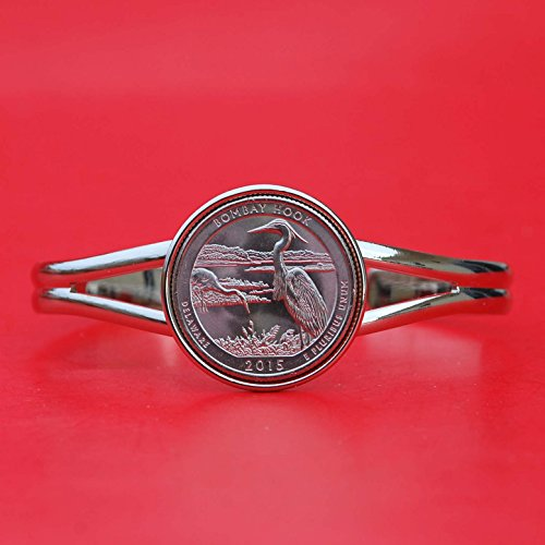 Bracelets Hook Coin (US 2015 Delaware Bombay Hook National Wildlife Refuge Quarter BU Unc Coin Silver Plated Cuff Bracelet - Beautiful)