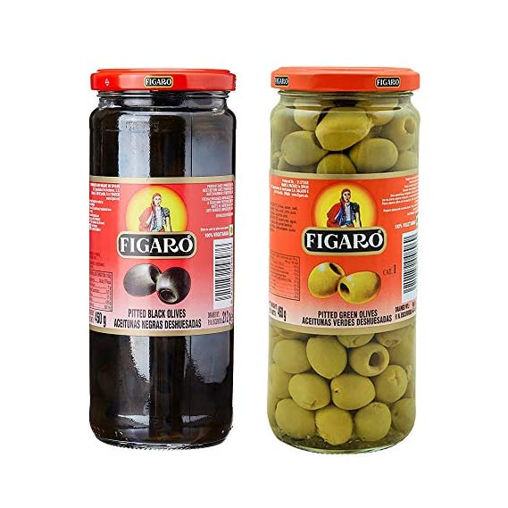 Figaro Pitted Black & Pitted Green Olives Combo Pack, 2 x 420 g