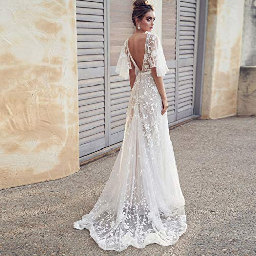 Owmeot Women S Bohemian Wedding Dresses Lace Bridal Gown Backless Short Sleeve V Neck Lace Beach Wedding Gowns