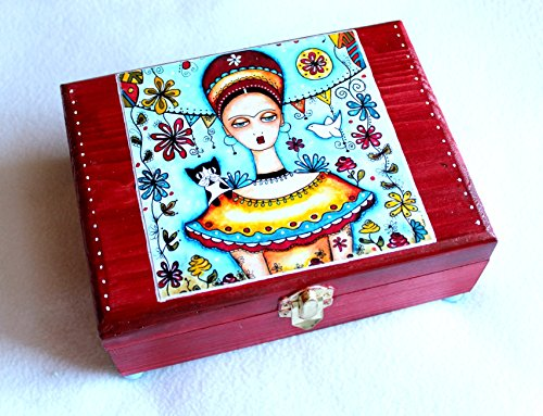 Wood Jewelry Box, Large, with Mexican Garden Frida and Her Cat, Varnished Box Art
