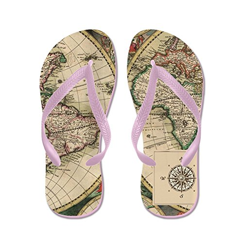 CafePress Antique Old World Map - Flip Flops, Funny Thong Sandals, Beach Sandals Pink