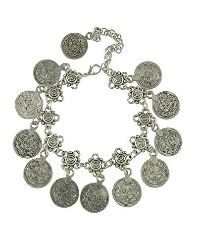 Young & Forever Women's Diwali Special Gypsy Coin Anklet (1 Piece) Silver Toned by Young & Forever