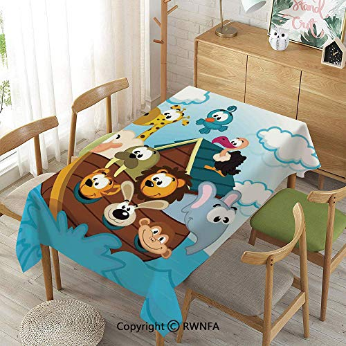 Homenon 100% Polyester Tablecloths for Rectangle Tables,Noahs Ark with Cute Animals Seafaring Comic Style Adventurous Artwork Print,Machine Washable,Multicolor,55