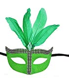 Blue Topaz Boutique Kelly Green Bling Glitter Mask New Years Eve Mardi Gras ST Patricks Day Halloween Masquerade Ball Tie On