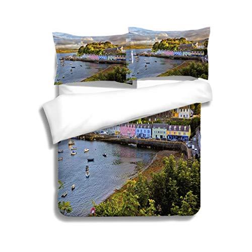 MTSJTliangwan Duvet Cover Set View on Portree Isle of Skye Scotland 3 Piece Bedding Set with Pillow Shams, Queen/Full, Dark Orange White Teal ()