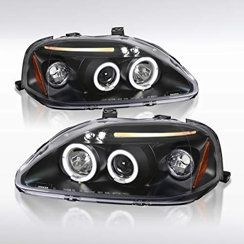 Autozensation For Honda Civic Black LED Halo Projector Headlights