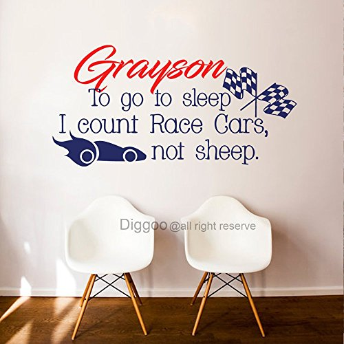 To Go To Sleep I Count Race Cars Not Sheep Nursery Name Wall Decal Little Boy Room Wall Decal Quote (11