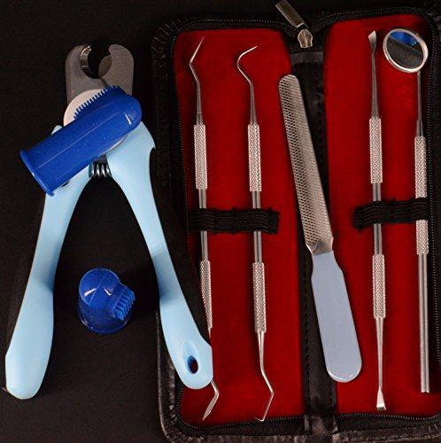 Price comparison product image Yabber Dog Grooming / Puppy Dental Set + Finger K9 Tooth Brushes (2) + Nail Clippers [Small] + Nail File