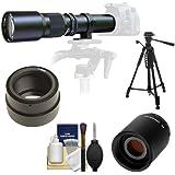 Samyang 500mm f/8.0 Telephoto Lens with 2x Teleconverter (=1000mm) + 58 Tripod Kit for Sony Alpha NEX-C3, NEX-F3, NEX-5, NEX-5N, NEX-7 Digital Cameras