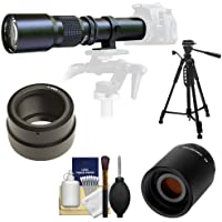 Samyang 500mm f/8.0 Telephoto Lens with 2x Teleconverter (=1000mm) + 58 Tripod Kit for Sony Alpha NEX-C3, NEX-F3, NEX-5, NEX-5N, NEX-7 Digital Cameras