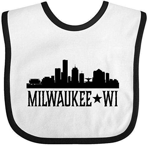 Inktastic - Milwaukee Wisconsin City Skyline Baby Bib White/Black 2d6e5